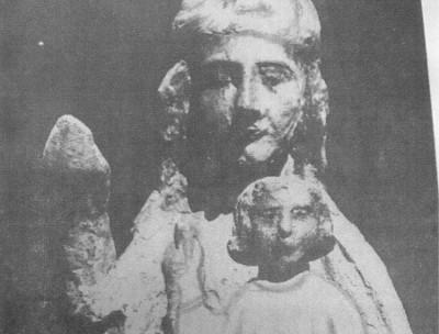 L'ADORATION DES SAINTS vierge romane du xiv siècle