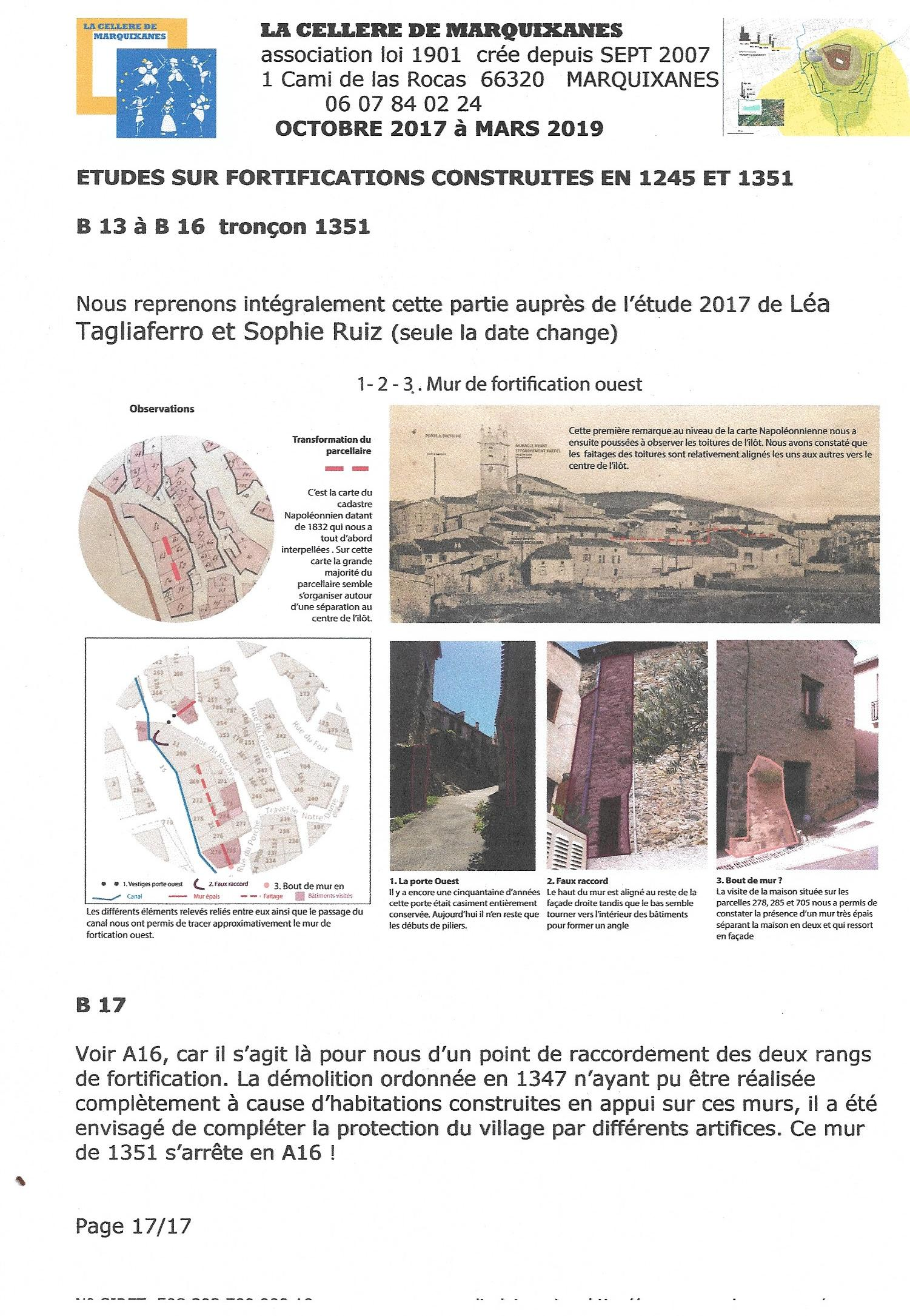 FORTIFICATIONS DE 1351 suite MARQUIXANES